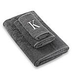 "Avanti Premier Silver Block Monogram Letter ""K"" Fingertip Towel in Granite"