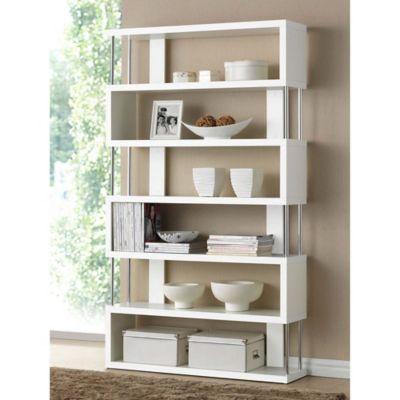 baxton studio barnes 6shelf bookcase in white