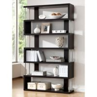 Baxton Studio Barnes 6-Shelf Bookcase in Dark Brown