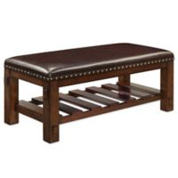 Cushioned Bench with Nailhead Trim in Walnut
