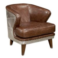 Moe`s Home Collection Leather Upholstered Chair in Dark Brown