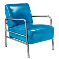 Moe's Home Collection Royce Leather Club Chair in Blue