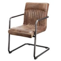 Moe`s Home Collection Leather Upholstered Chairs in Light Brown (Set of 2)