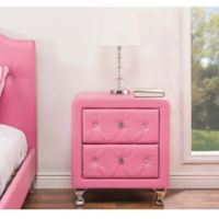 Baxton Studio Stella 2-Drawer Nightstand in Pink
