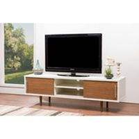 Baxton Studio Gemini TV Stand in White/Walnut