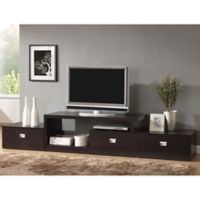 Wholesale Interiors Inc Marconi 3-Drawer Modern TV Stand in Dark Brown