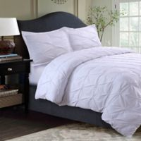 Tribeca Living Sydney Pintuck King Duvet Cover Set in White