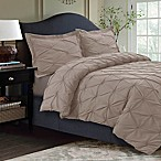 Tribeca Living Sydney Pintuck King Duvet Cover Set in Cashmere