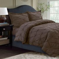 Tribeca Living Sydney Pintuck Twin Duvet Cover Set in Chocolate
