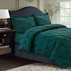 Tribeca Living Sydney Pintuck Queen Duvet Cover Set in Teal