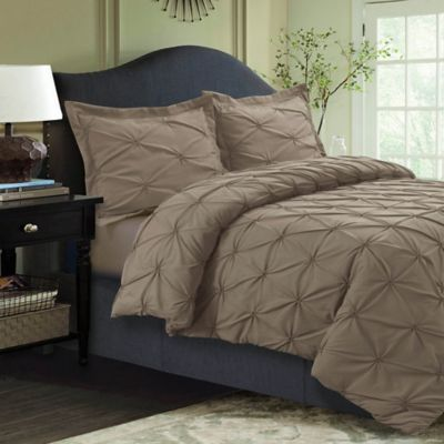Tribeca Living Sydney Pintuck King Duvet Cover Set In Taupe