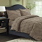 Tribeca Living Sydney Pintuck Queen Duvet Cover Set in Taupe