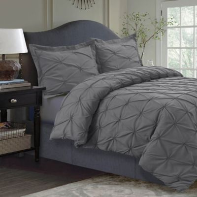 Tribeca Living Sydney Pintuck Twin Duvet Cover Set In Grey