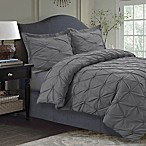 Tribeca Living Sydney Pintuck King Duvet Cover Set in Grey