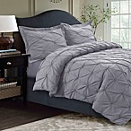 Tribeca Living Sydney Pintuck Queen Duvet Cover Set in Silver Grey