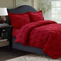Tribeca Living Sydney Pintuck Twin Duvet Cover Set in Red