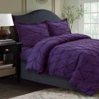 Tribeca Living Sydney Pintuck Queen Duvet Cover Set in Purple