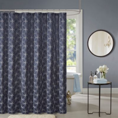 Madison Park Colton 72 Inch Shower Curtain in NavyBuy Silver Blue Fabric Shower Curtains from Bed Bath   Beyond. Blue And Silver Shower Curtain. Home Design Ideas