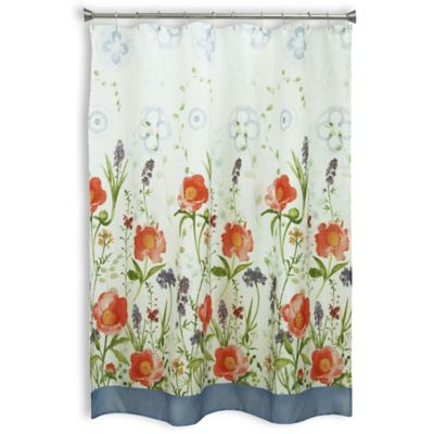 High Quality Bacova Merry May Shower Curtain In Coral/Ivory