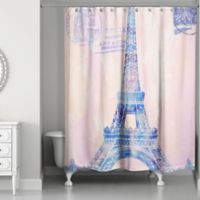 Designs Direct Watercolor Paris Shower Curtain in Pink/Purple