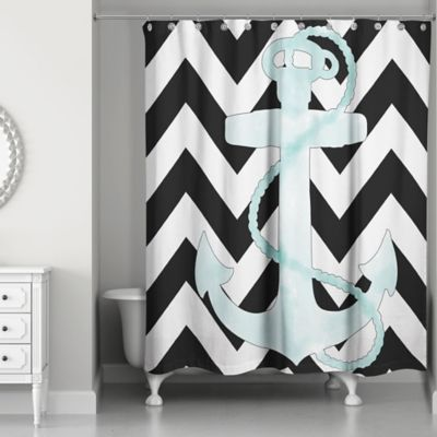 grey and white chevron shower curtain. Designs Direct Chevron Anchor Shower Curtain in White Black Buy Curtains from Bed Bath  Beyond
