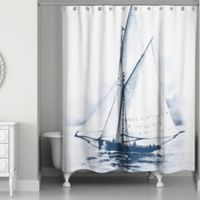 Designs Direct White Sailboat Shower Curtain in Blue/White