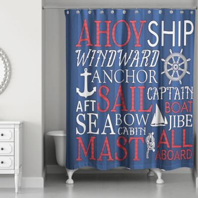 Designs Direct Nautical Phrase Shower Curtain In Blue/Red