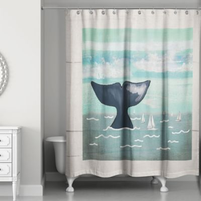 Designs Direct Whale Tail Shower Curtain In Blue Beige