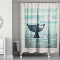 Designs Direct Whale Tail Shower Curtain in Blue/Beige