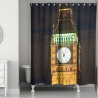 Designs Direct London Lights Shower Curtain in Black/Yellow