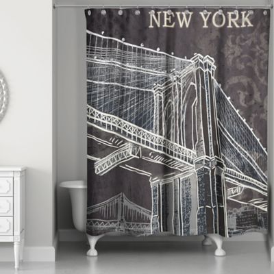 Designs Direct Brooklyn Bridge Shower Curtain In Black/White