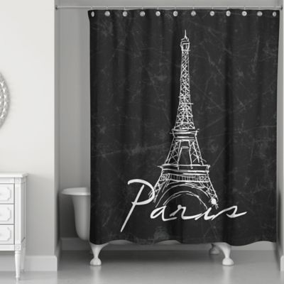 Black shower curtains Valance Designs Direct Eiffel Tower Sketch Shower Curtain In Blackwhite Bed Bath Beyond Buy Black And White Fabric Shower Curtains Bed Bath Beyond