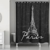 Designs Direct Eiffel Tower Sketch Shower Curtain in Black/White