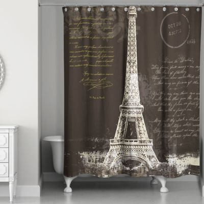 designs direct painterly paris shower curtain in blackwhite