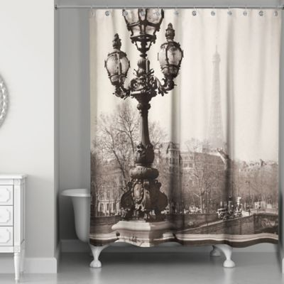 Designs Direct Afternoon In Paris Shower Curtain In Black/White