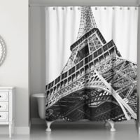 Designs Direct Under the Eiffel Tower Shower Curtain in Black/White