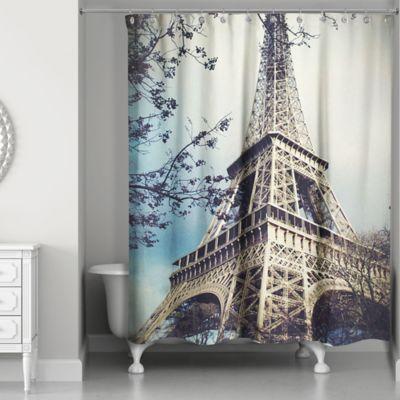 Perfect Designs Direct Hazy Eiffel Tower Shower Curtain