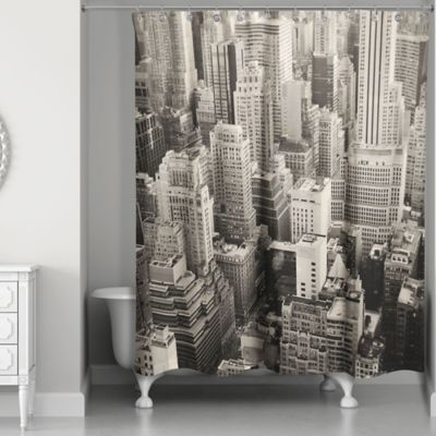 Designs Direct New York City Shower Curtain in White/Grey