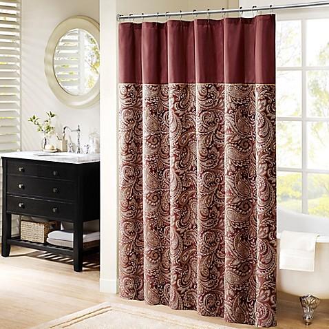 Madison Park Aubrey 72 Inch Shower Curtain In Burgundy Bed Bath Beyond