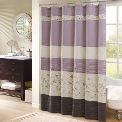 purple and brown shower curtain. Madison Park Serene 72 Inch Shower Curtain in Purple Buy Curtains from Bed Bath  Beyond