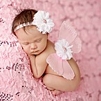 Tiny Blessings Boutique Newborn Flower Headband and Butterfly Wing Set in White/Pink
