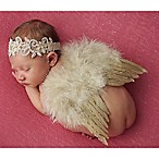 Tiny Blessings Boutique Newborn Champagne Headband and Wing Set in Tan/Gold