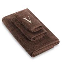 """Avanti Premier Ivory Block Monogram Letter """"V"""" Hand Towel in Mocha"""