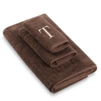 """Avanti Premier Ivory Block Monogram Letter """"T"""" Hand Towel in Mocha"""