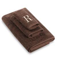 "Avanti Premier Ivory Block Monogram Letter ""R"" Hand Towel in Mocha"