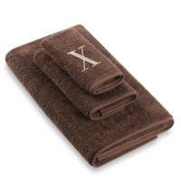 "Avanti Premier Ivory Block Monogram Letter ""X"" Fingertip Towel in Mocha"