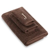 """Avanti Premier Ivory Block Monogram Letter """"J"""" Bath Towel in Mocha"""