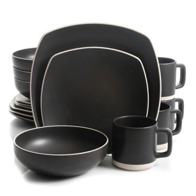 Artisanal Kitchen Supply™ Edge 16-Piece Square Dinnerware Set in Graphite  sc 1 st  Bed Bath u0026 Beyond & Buy Gray Square Dinnerware Sets from Bed Bath u0026 Beyond