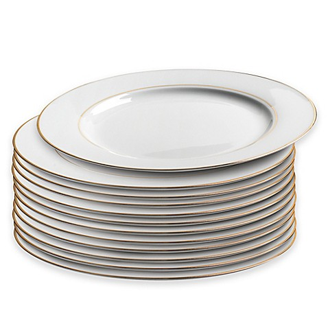 Catereru0027s Dinner Plate with Double Gold Band (Set of ...  sc 1 st  Bed Bath u0026 Beyond : bed bath and beyond dinner plates - pezcame.com