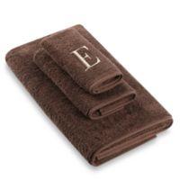 "Avanti Premier Ivory Block Monogram Letter ""E"" Hand Towel in Mocha"